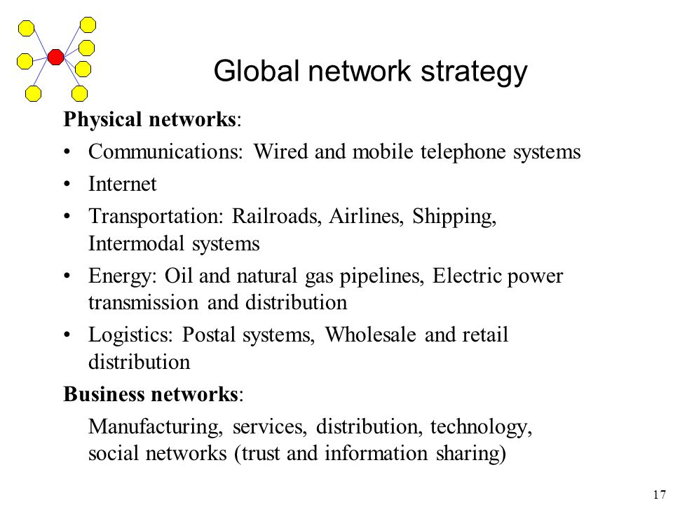 18 Global network strategy: The global factory Hong Kong manufacturers own or contract with more than 40,000 factories in South China employing four million workers To take advantage of specialized sources in different countries - best quality To take advantage of cost variations across countries - least cost sources To take advantage of location - minimize transport-costs, transaction costs, and tariffs
