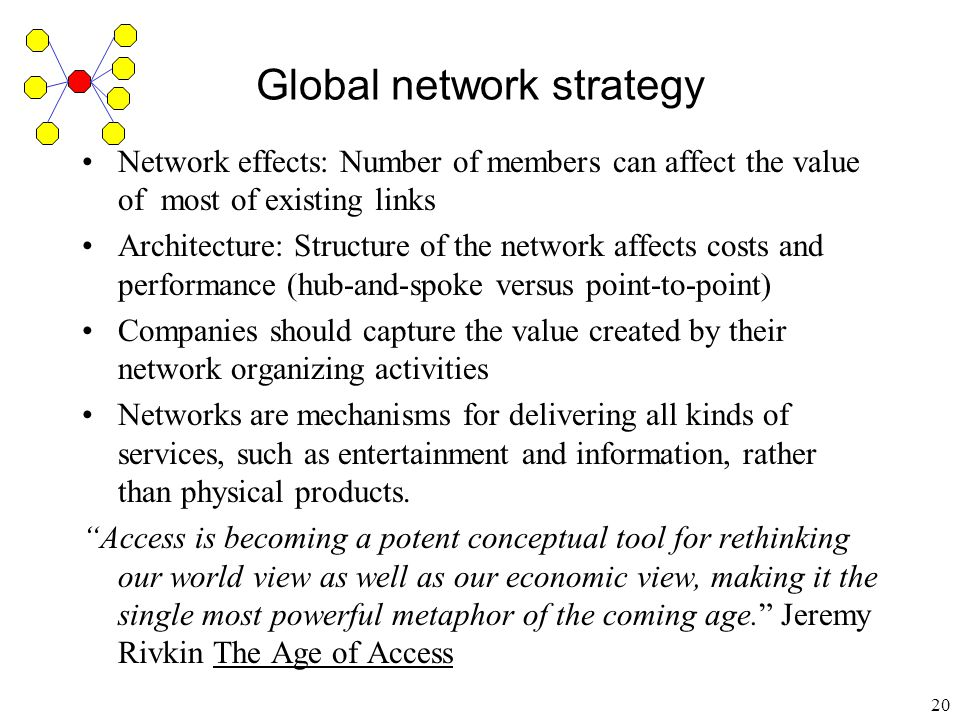 21 Global network strategy Partner networks Achieve global scale Members focus on their region Reduce competition by avoiding duplication of facilities and operations Avoid government restrictions on ownership and market dominance Technology standard setting Complements in production Complements in demand (game players and games)
