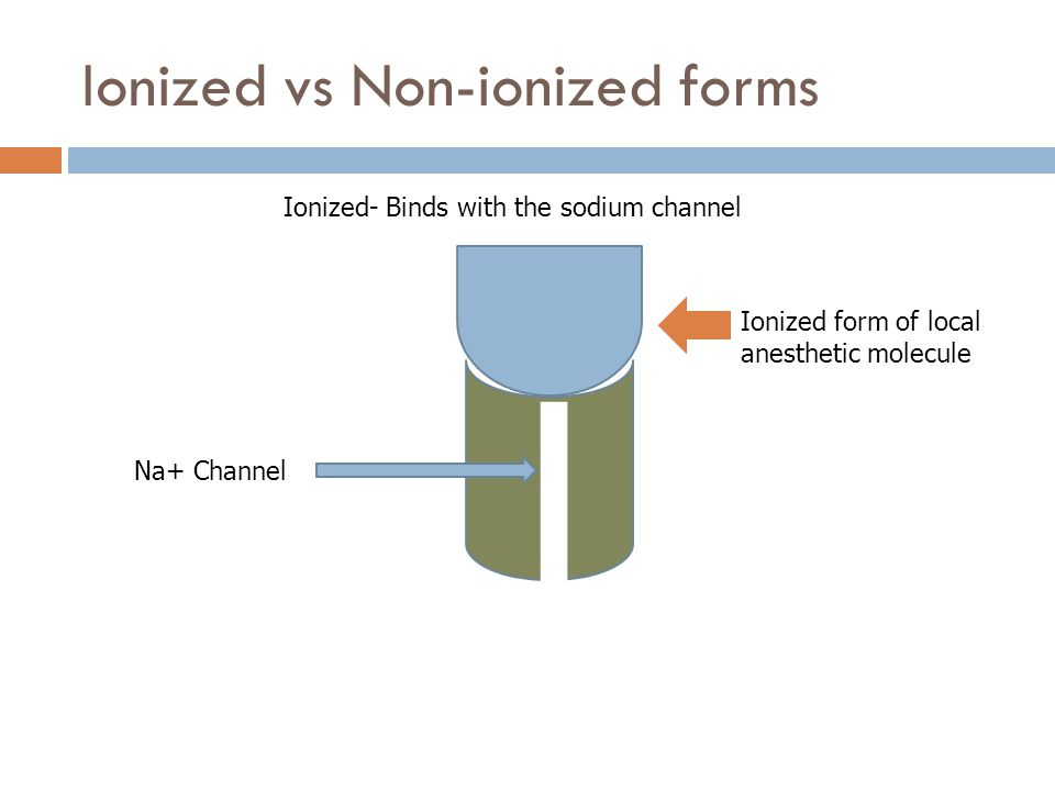 Ionized vs Non-ionized forms Na+ Channel Ionized form of local anesthetic molecule Ionized- Binds with the sodium channel