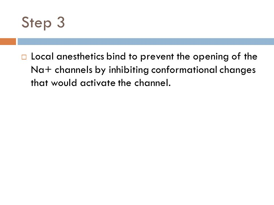 Step 3  Local anesthetics bind to prevent the opening of the Na+ channels by inhibiting conformational changes that would activate the channel.