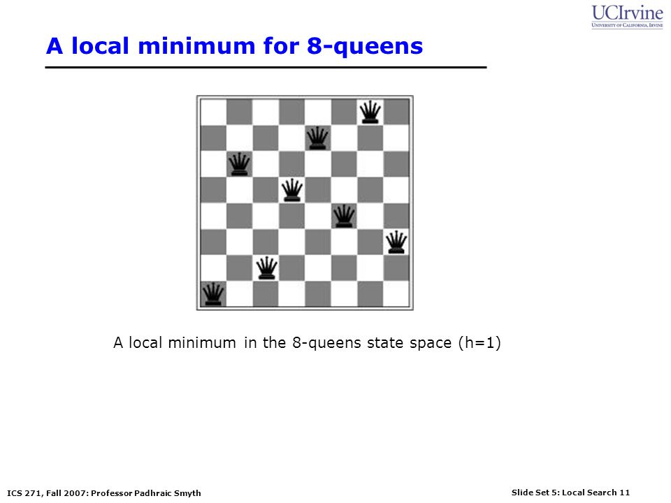 Slide Set 5: Local Search 11 ICS 271, Fall 2007: Professor Padhraic Smyth A local minimum for 8-queens A local minimum in the 8-queens state space (h=