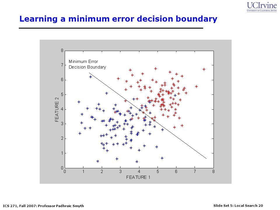 Slide Set 5: Local Search 20 ICS 271, Fall 2007: Professor Padhraic Smyth Learning a minimum error decision boundary