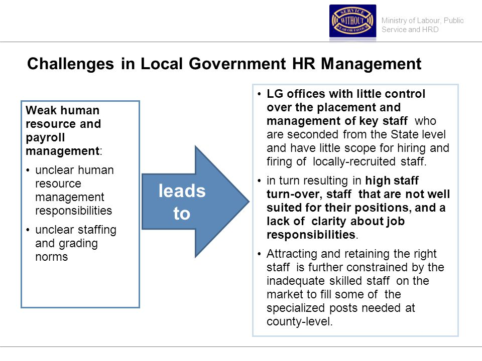 Ministry of Labour, Public Service and HRD Challenges in Local Government HR Management Weak human resource and payroll management: unclear human resource management responsibilities unclear staffing and grading norms LG offices with little control over the placement and management of key staff who are seconded from the State level and have little scope for hiring and firing of locally-recruited staff.