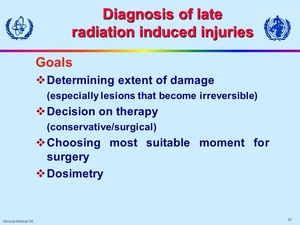 Module Medical XIII. 23 Diagnosis of late radiation induced injuries Goals  Determining extent of damage (especially lesions that become irreversible