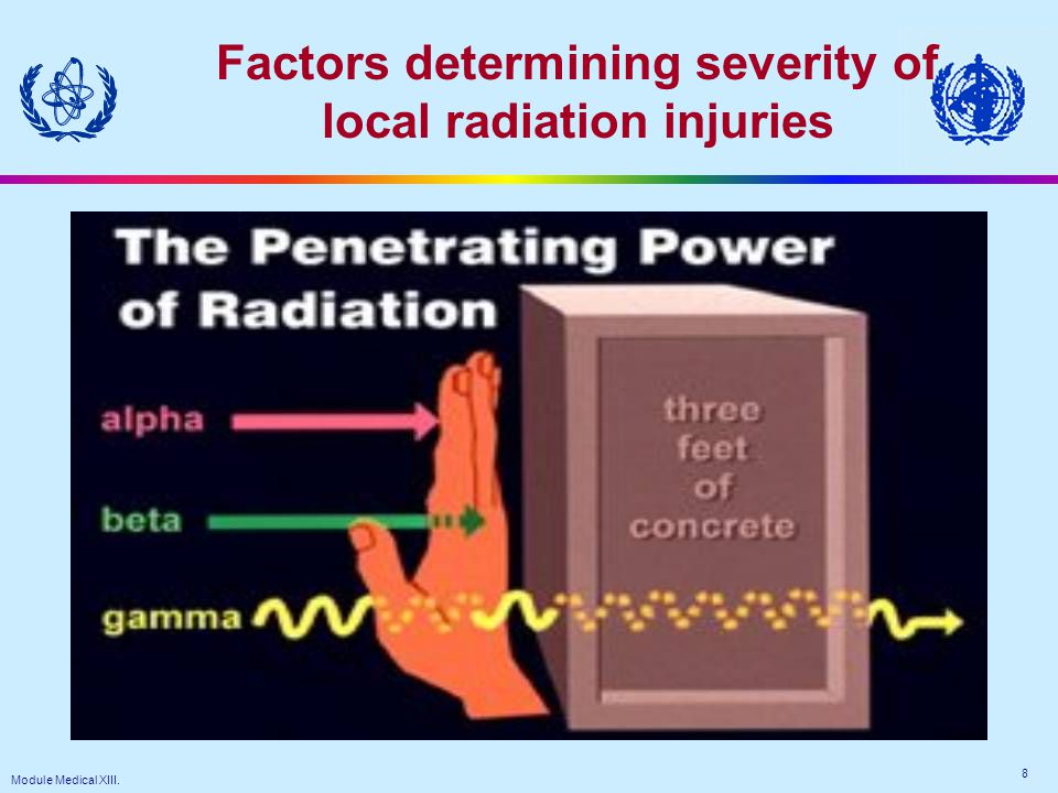 Module Medical XIII. 8 Factors determining severity of local radiation injuries