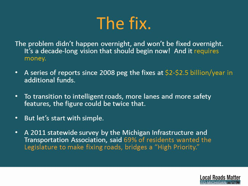 The fix. The problem didn't happen overnight, and won't be fixed overnight.