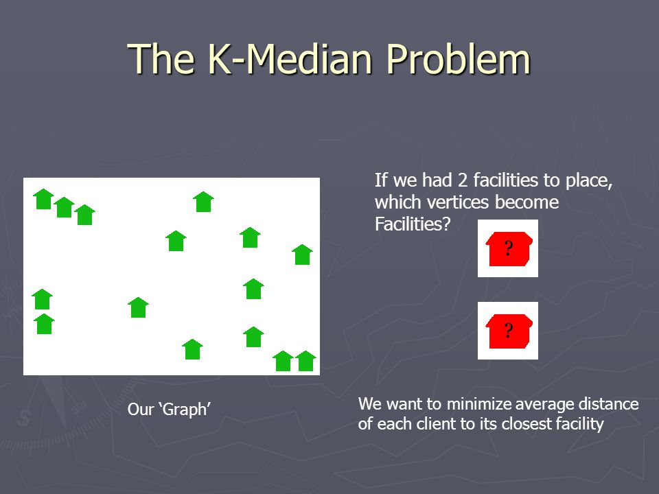 The K-Median Problem If we had 2 facilities to place, which vertices become Facilities.
