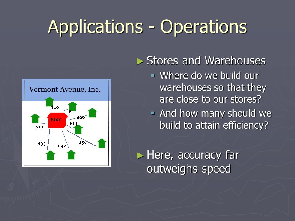 Applications - Operations ► Stores and Warehouses  Where do we build our warehouses so that they are close to our stores.