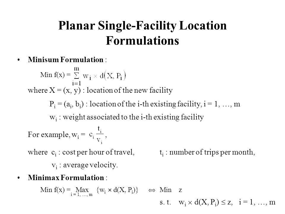 Minimax Location Problem with Rectilinear Distances (cont.) Minz s.