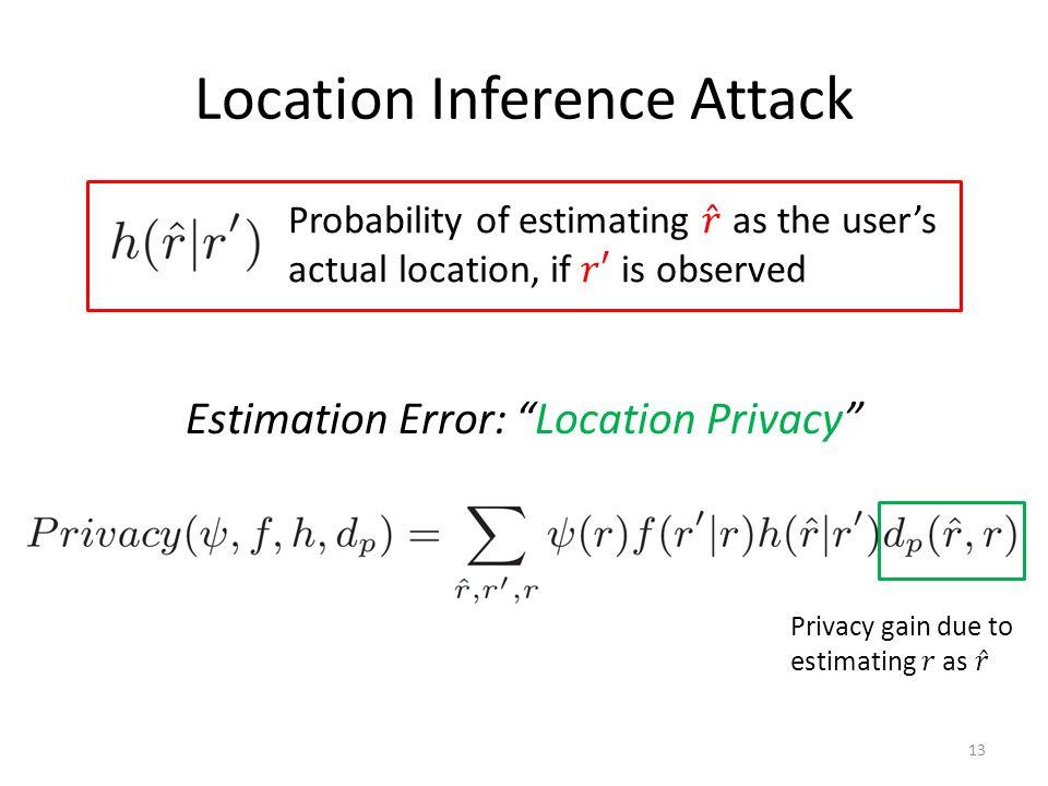 Location Inference Attack Estimation Error: Location Privacy 13