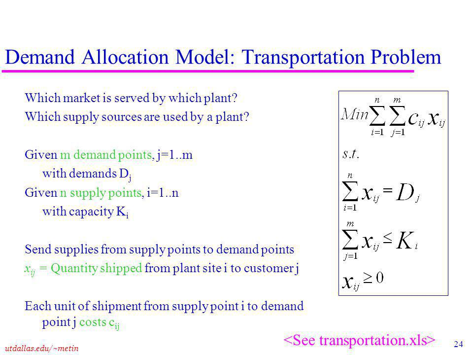 24 utdallas.edu/~metin Demand Allocation Model: Transportation Problem Which market is served by which plant.