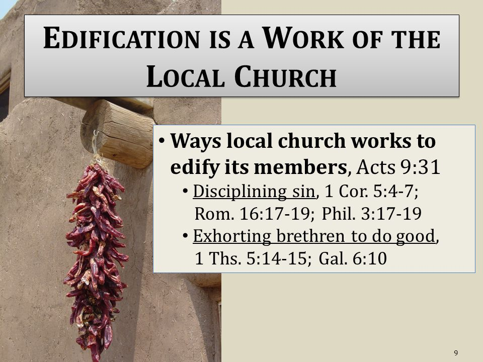 E DIFICATION IS A W ORK OF THE L OCAL C HURCH Ways local church works to edify its members, Acts 9:31 Disciplining sin, 1 Cor.