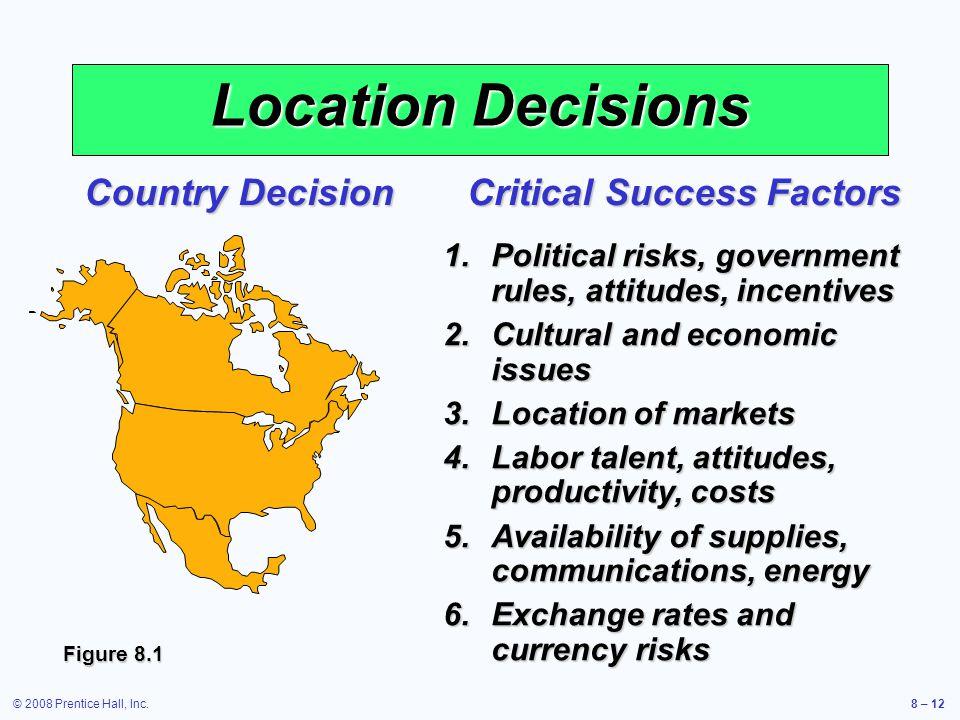 © 2008 Prentice Hall, Inc.8 – 12 Location Decisions Country Decision Critical Success Factors 1.Political risks, government rules, attitudes, incentiv