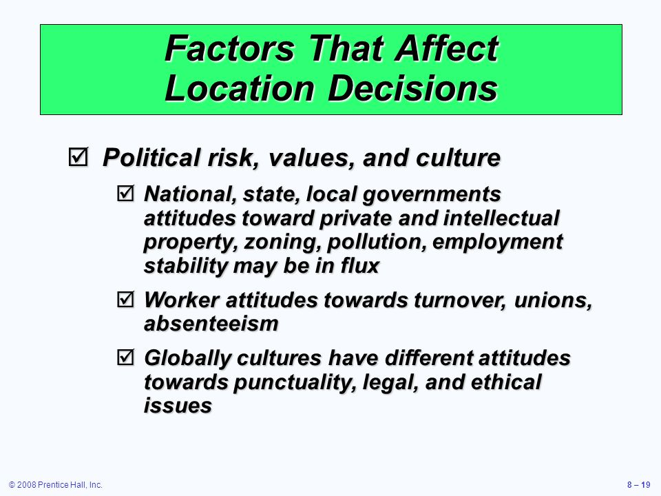 © 2008 Prentice Hall, Inc.8 – 19 Factors That Affect Location Decisions  Political risk, values, and culture  National, state, local governments att