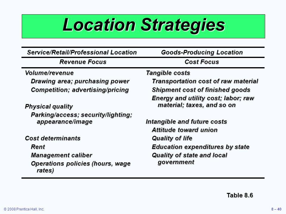 © 2008 Prentice Hall, Inc.8 – 40 Location Strategies Service/Retail/Professional Location Goods-Producing Location Revenue Focus Cost Focus Revenue Fo