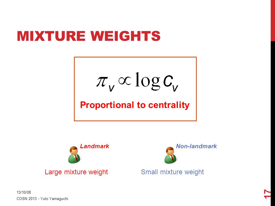 MIXTURE WEIGHTS 13/10/08 COSN 2013 - Yuto Yamaguchi 17 Proportional to centrality LandmarkNon-landmark Large mixture weightSmall mixture weight