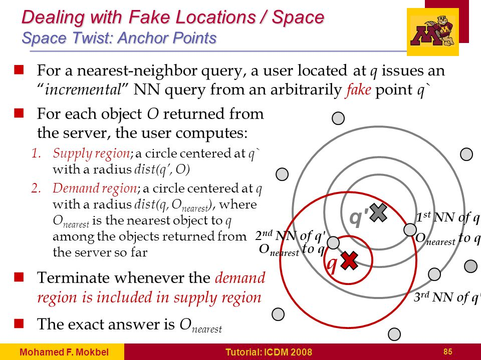 q q' 1 st NN of q' 2 nd NN of q' 3 rd NN of q' Dealing with Fake Locations / Space Space Twist: Anchor Points For a nearest-neighbor query, a user loc