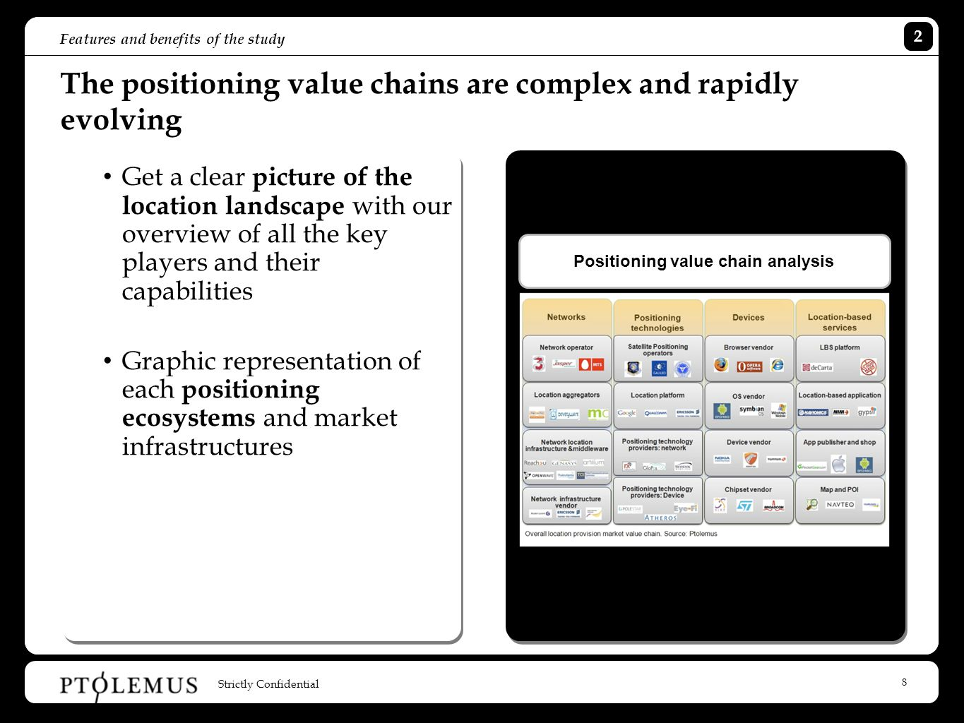 8 Features and benefits of the study Strictly Confidential 2 The positioning value chains are complex and rapidly evolving Get a clear picture of the location landscape with our overview of all the key players and their capabilities Graphic representation of each positioning ecosystems and market infrastructures Positioning value chain analysis