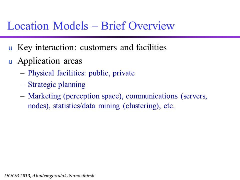 DOOR 2013, Akademgorodok, Novosibirsk Location Models: Solution Space Demand Space Where does customer demand originate.