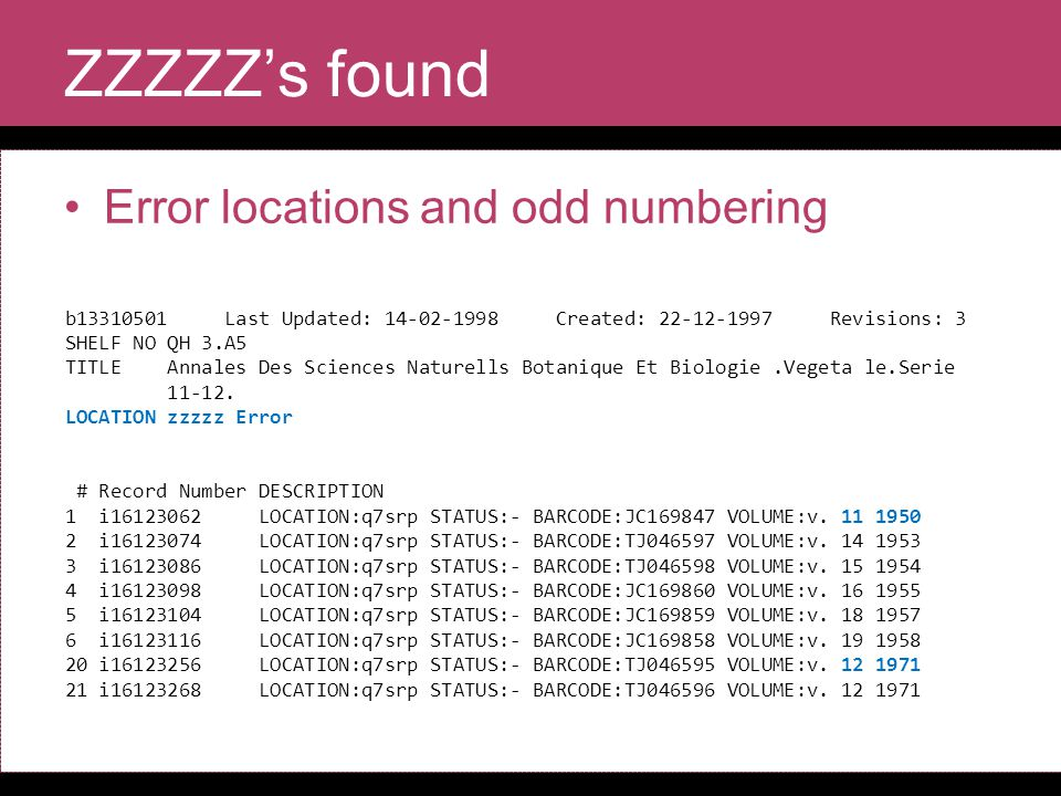 ZZZZZ's found Error locations and odd numbering b13310501 Last Updated: 14-02-1998 Created: 22-12-1997 Revisions: 3 SHELF NO QH 3.A5 TITLE Annales Des Sciences Naturells Botanique Et Biologie.Vegeta le.Serie 11-12.