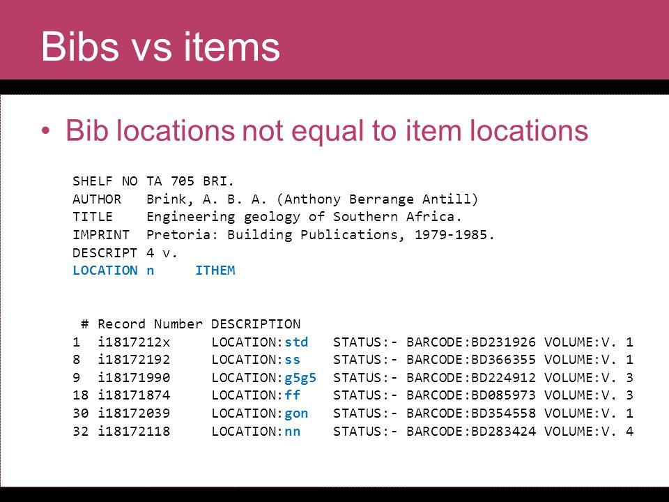 Bibs vs items Bib locations not equal to item locations SHELF NO TA 705 BRI.