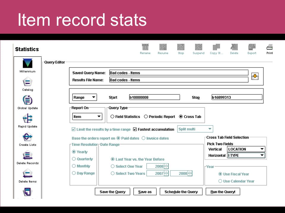Item record stats