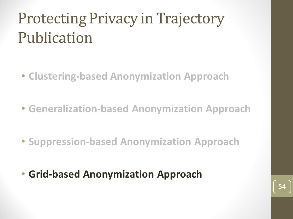 Protecting Privacy in Trajectory Publication Clustering-based Anonymization Approach Generalization-based Anonymization Approach Suppression-based Anonymization Approach Grid-based Anonymization Approach 54