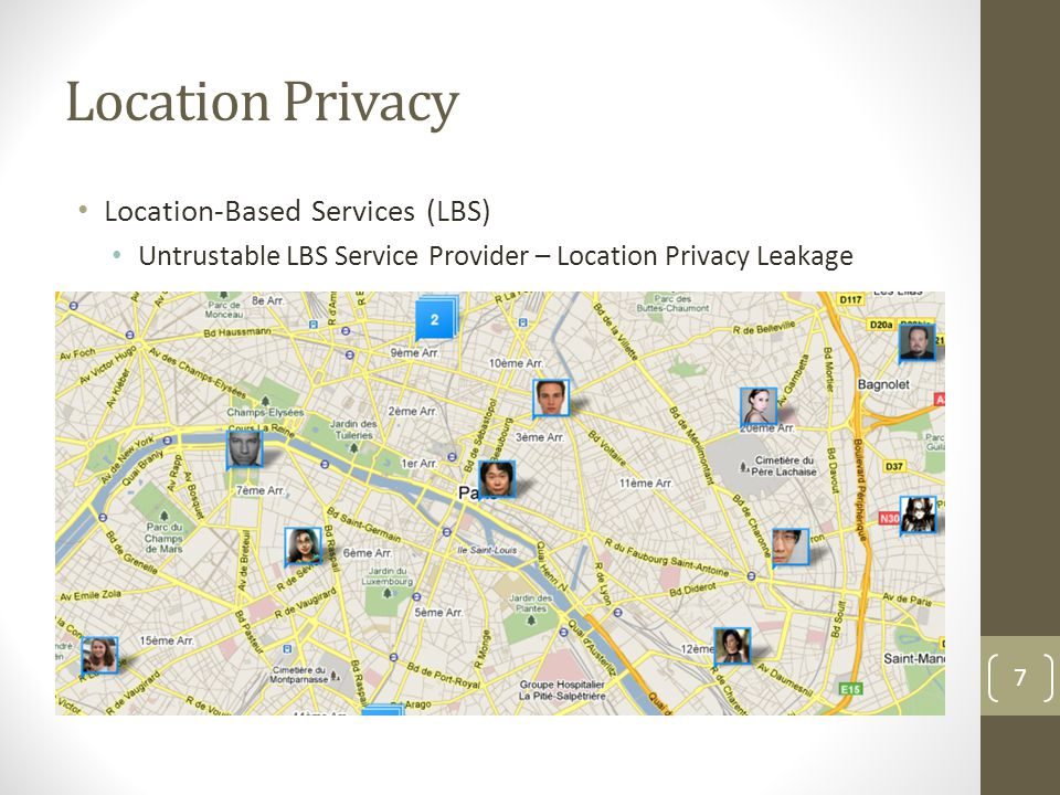Location Privacy Location-Based Services (LBS) Untrustable LBS Service Provider – Location Privacy Leakage 7