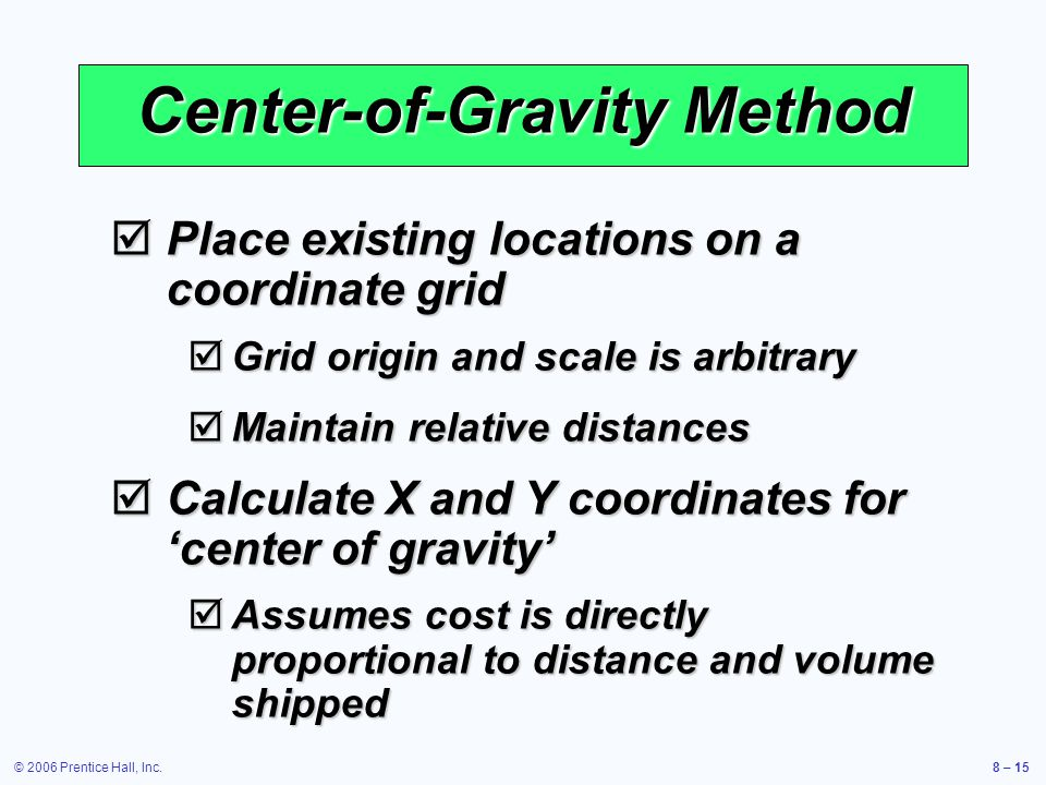 © 2006 Prentice Hall, Inc.8 – 15 Center-of-Gravity Method  Place existing locations on a coordinate grid  Grid origin and scale is arbitrary  Maintain relative distances  Calculate X and Y coordinates for 'center of gravity'  Assumes cost is directly proportional to distance and volume shipped