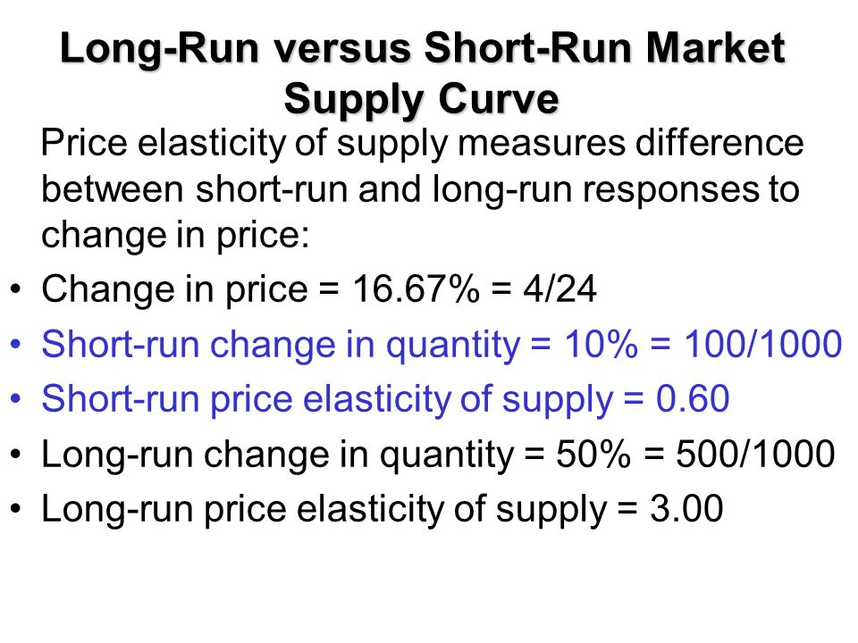 Long-Run versus Short-Run Market Supply Curve Price elasticity of supply measures difference between short-run and long-run responses to change in pri