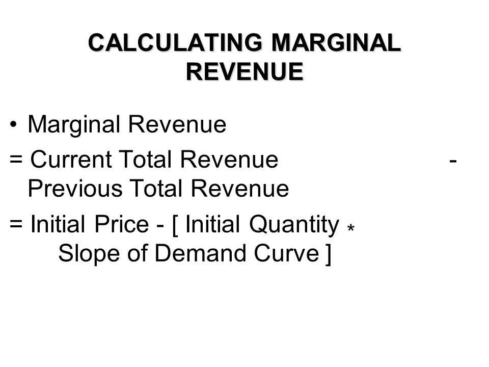 CALCULATING MARGINAL REVENUE Marginal Revenue = Current Total Revenue - Previous Total Revenue = Initial Price - [ Initial Quantity * Slope of Demand