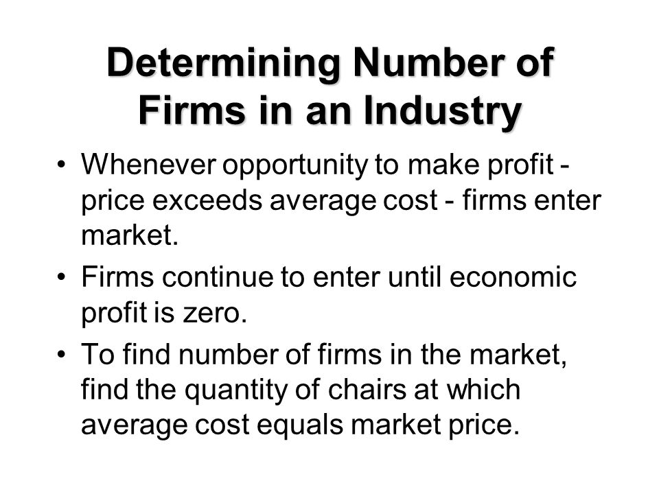 Determining Number of Firms in an Industry Whenever opportunity to make profit - price exceeds average cost - firms enter market. Firms continue to en
