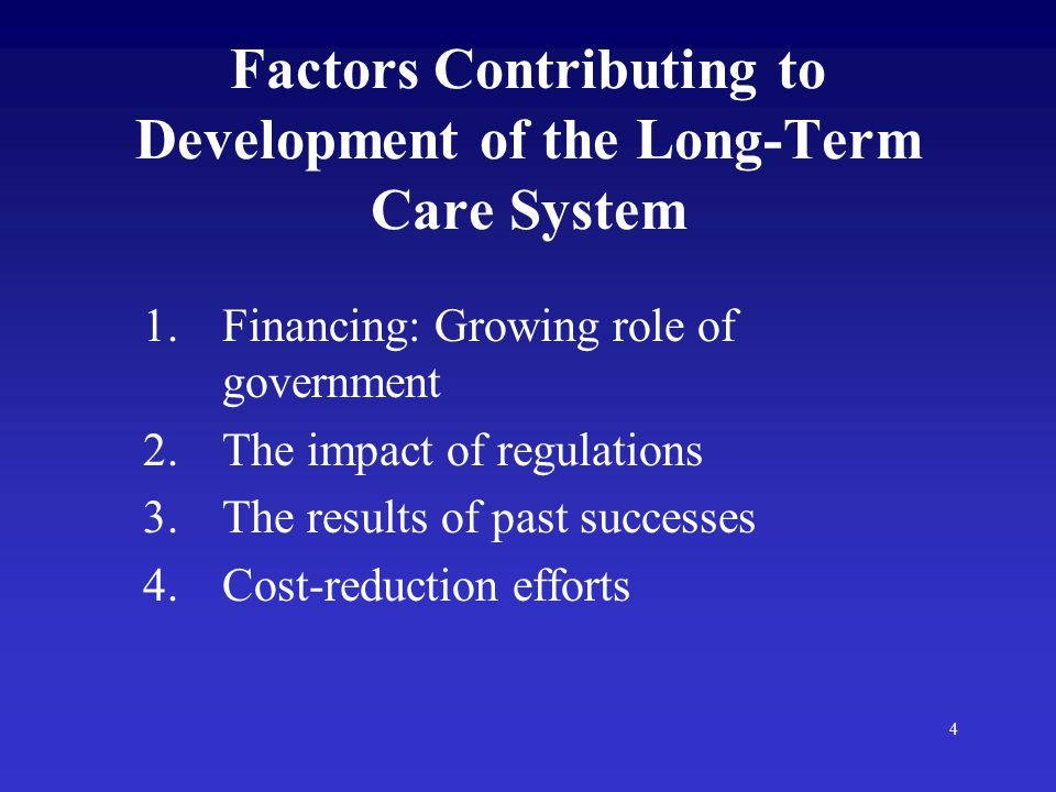 4 Factors Contributing to Development of the Long-Term Care System 1.Financing: Growing role of government 2.The impact of regulations 3.The results of past successes 4.Cost-reduction efforts