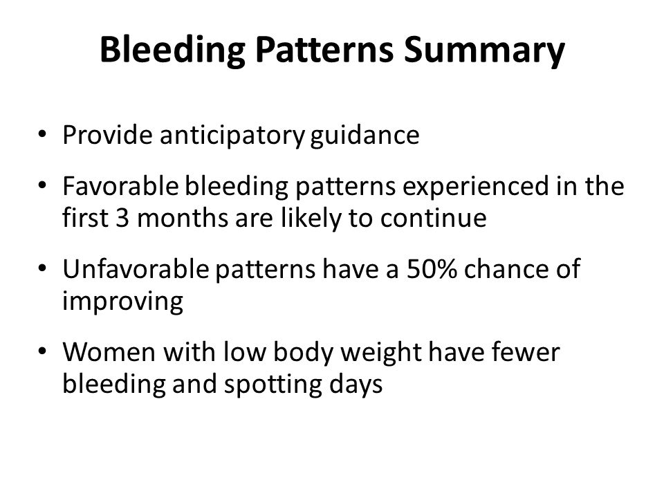 Bleeding Patterns Summary Provide anticipatory guidance Favorable bleeding patterns experienced in the first 3 months are likely to continue Unfavorab