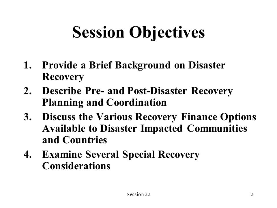 Session 2213 Recovery Coordination Vital, but extremely difficult to achieve Mechanisms required at local, regional, national, and international levels Wide representation key to success Mechanism becomes central repository of information and assistance
