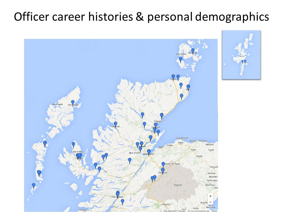 Officer career histories & personal demographics