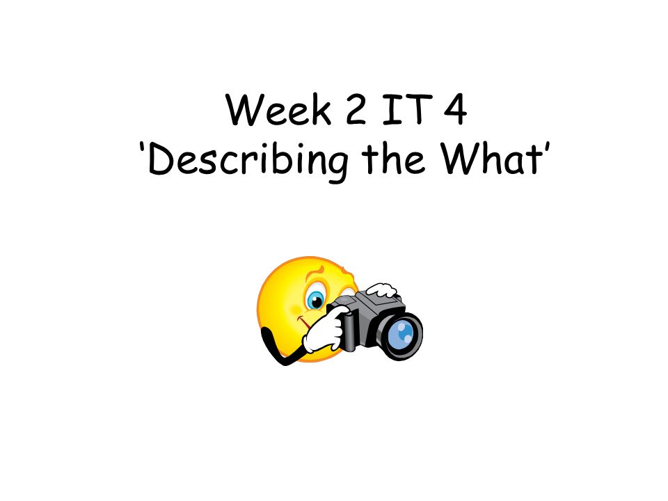 Week 2 IT 4 'Describing the What'