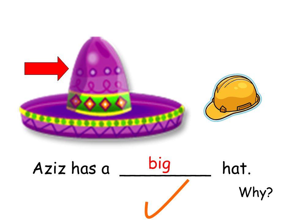 Aziz has a _________ hat. big Why?