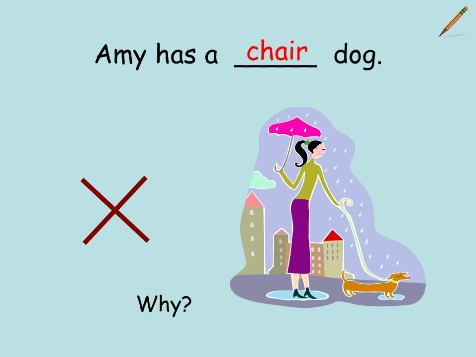 Amy has a _____ dog. chair Why?