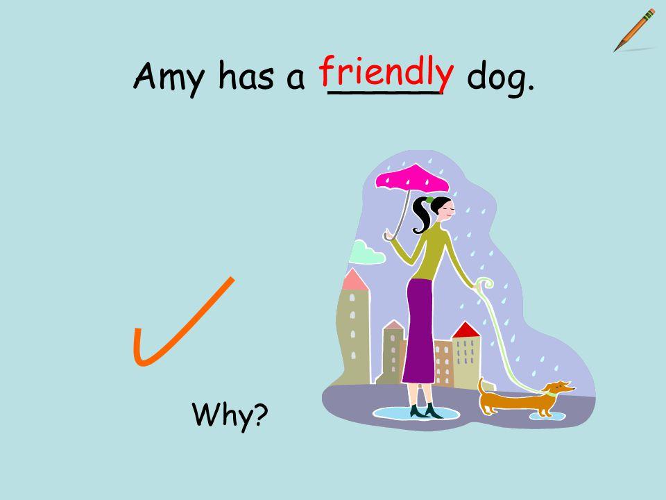 Amy has a _____ dog. friendly Why?