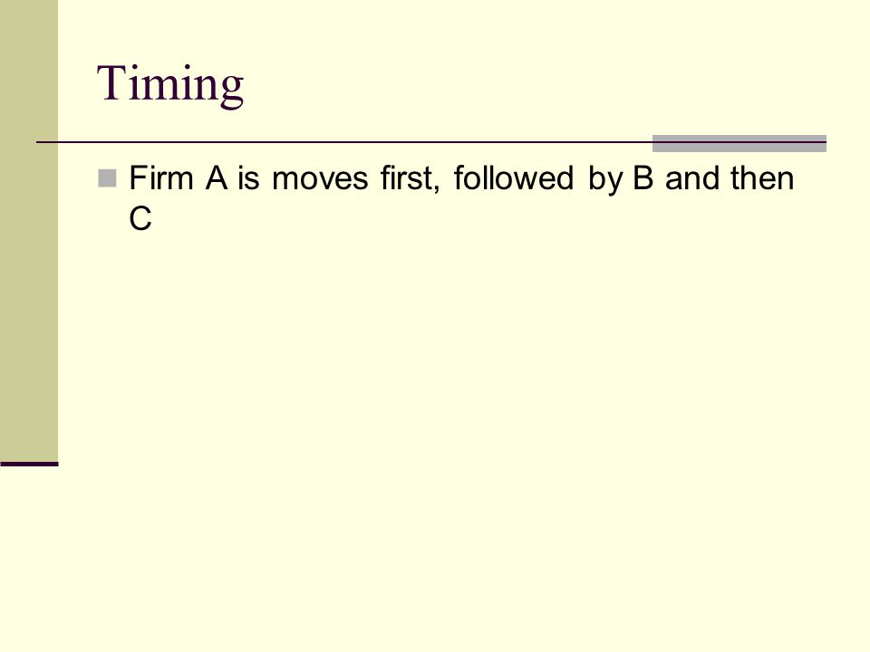 Timing Firm A is moves first, followed by B and then C