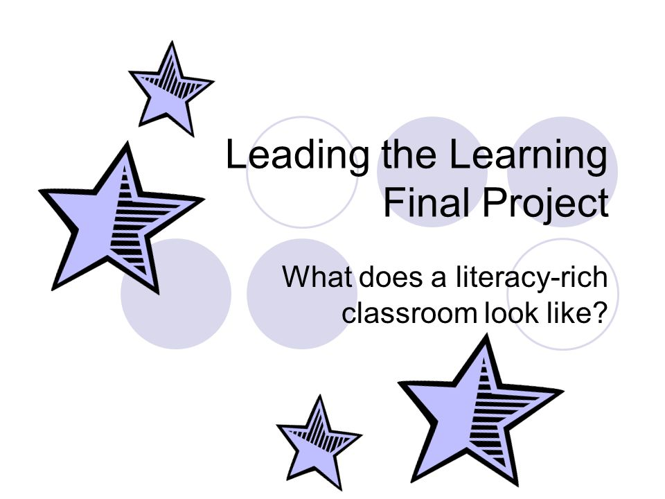 Leading the Learning Final Project What does a literacy-rich classroom look like