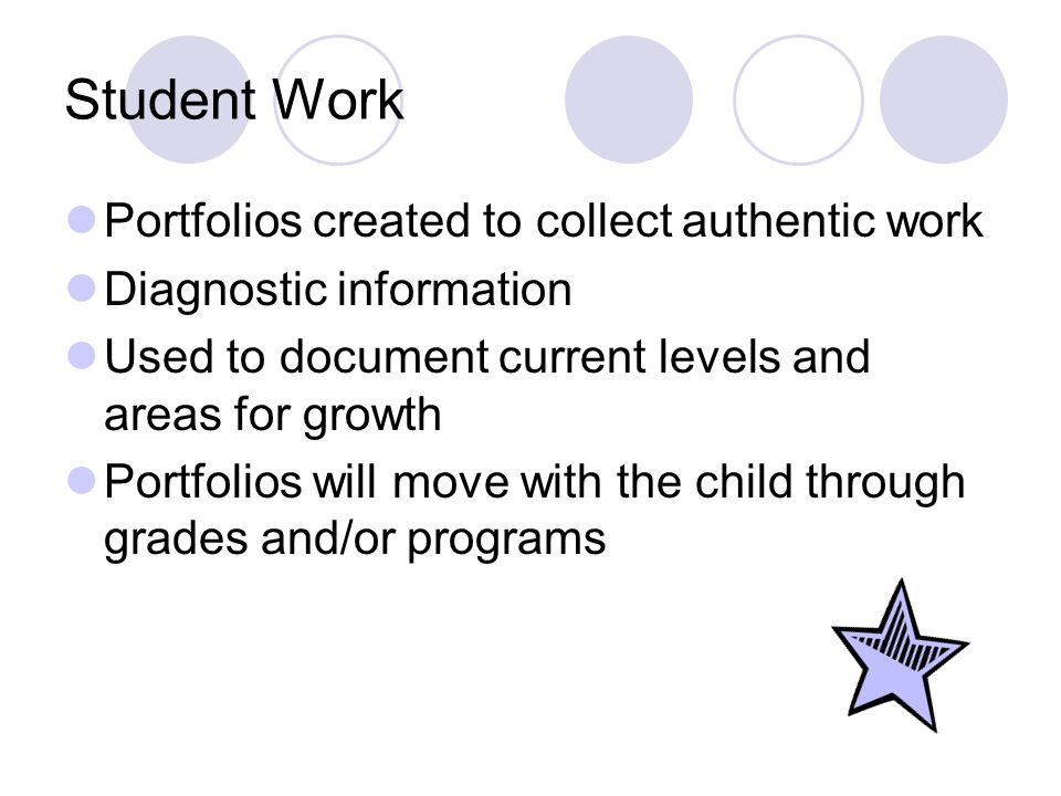 Student Work Portfolios created to collect authentic work Diagnostic information Used to document current levels and areas for growth Portfolios will move with the child through grades and/or programs