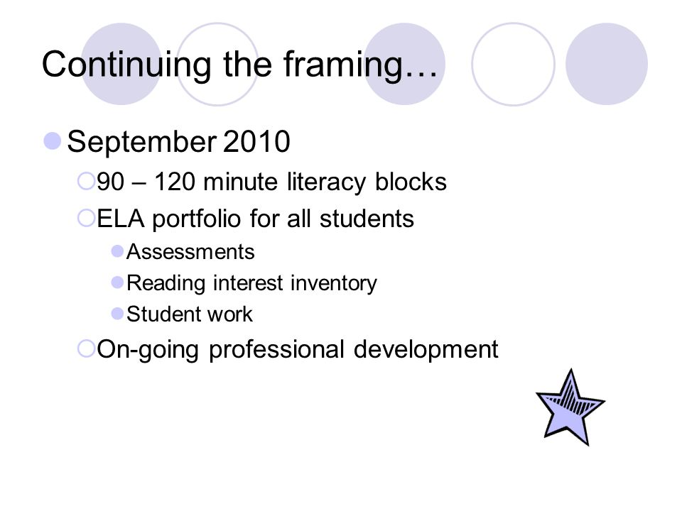 And even more framing… October 2010  Blackboard Site OCM BOCES BlackboardOCM BOCES Blackboard Promote collaboration due to geographical distances Lesson plans Video clips Authentic student work Assessment information Best practices