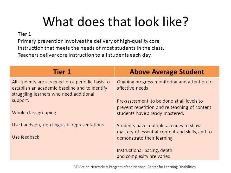 What does that look like? Tier 1Above Average Student All students are screened on a periodic basis to establish an academic baseline and to identify