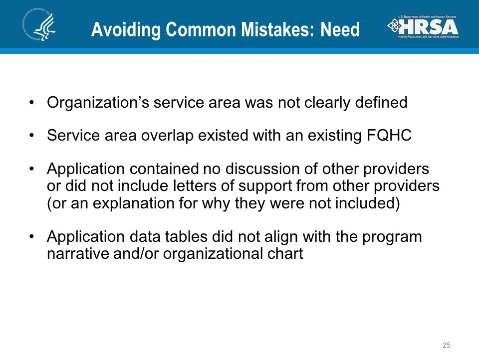 Avoiding Common Mistakes: Need Organization's service area was not clearly defined Service area overlap existed with an existing FQHC Application cont