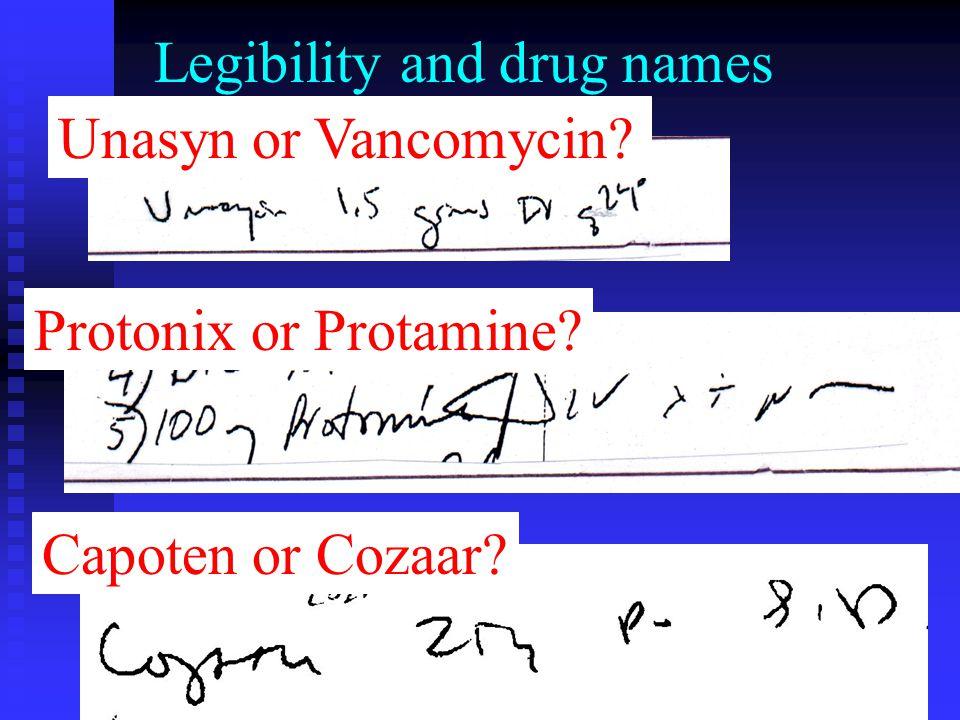 Legibility and drug names Capoten or Cozaar? Protonix or Protamine? Unasyn or Vancomycin?