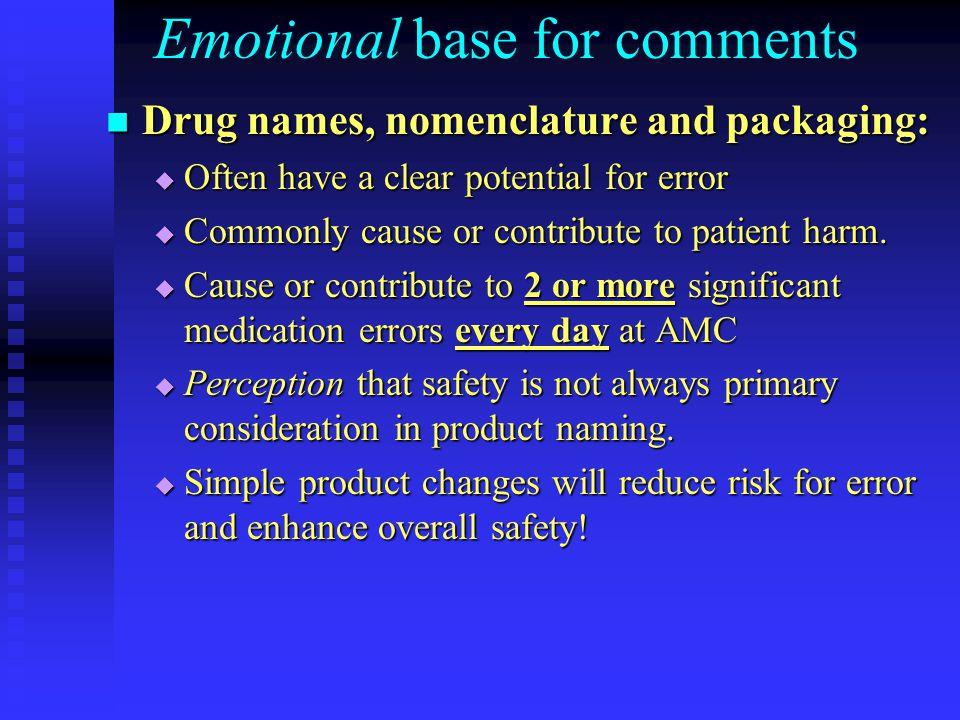 Emotional base for comments Drug names, nomenclature and packaging: Drug names, nomenclature and packaging:  Often have a clear potential for error 
