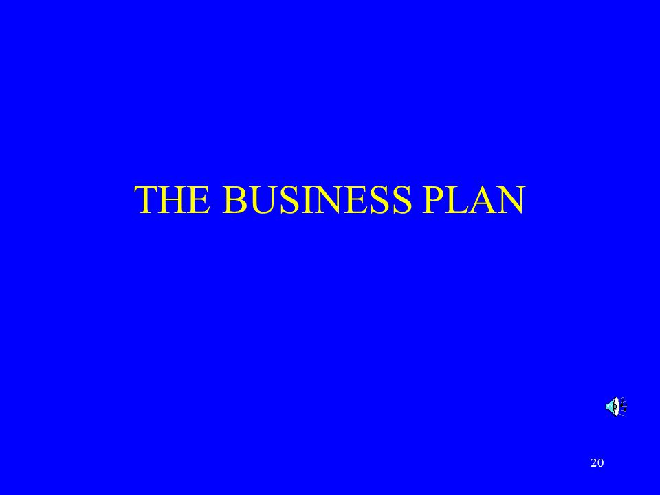 20 THE BUSINESS PLAN
