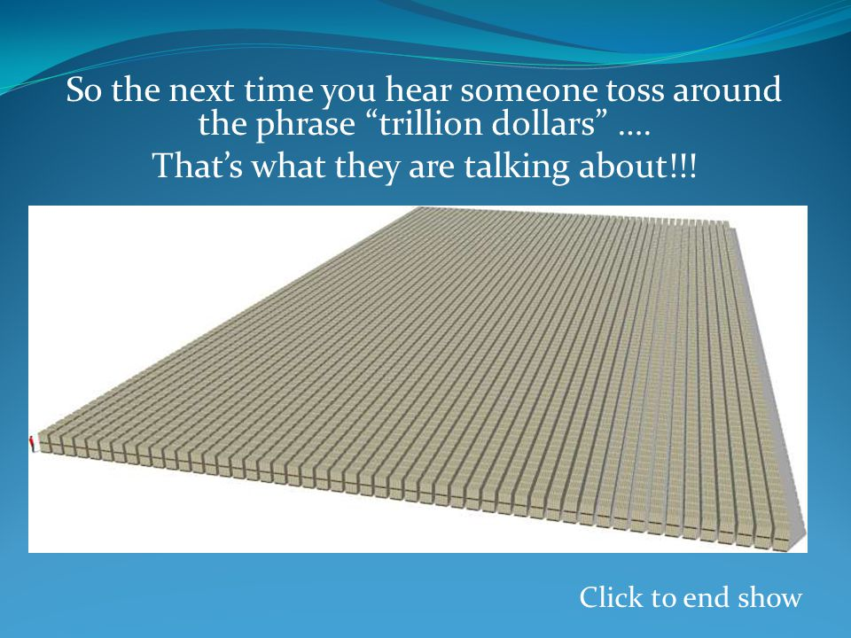So the next time you hear someone toss around the phrase trillion dollars ….